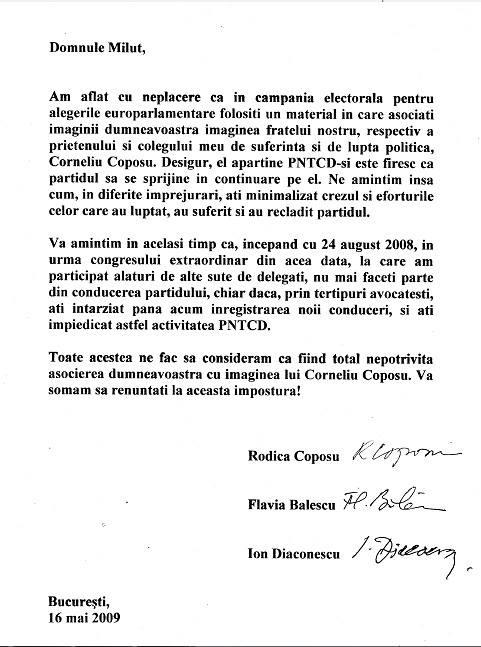 Doamnele Coposu şi Ion Diaconescu-scrisoare către Miluţ: renunţaţi la această impostură!