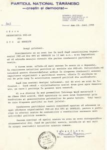 scrisoare C. Coposu catre pntcd-germania-iunie 1990