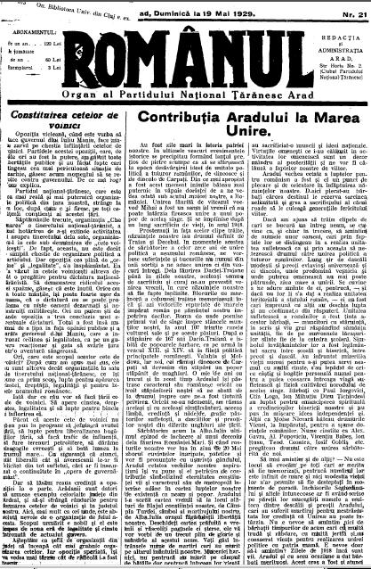 Ziarul Romanul-19 mai 1929