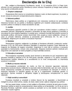 Declaraţia de la Cluj-14 noiembrie 2014