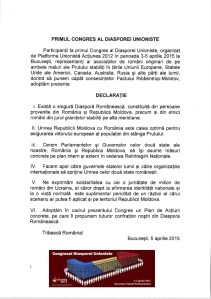 Congresul Diasporei Unioniste - DECLARATIE Final