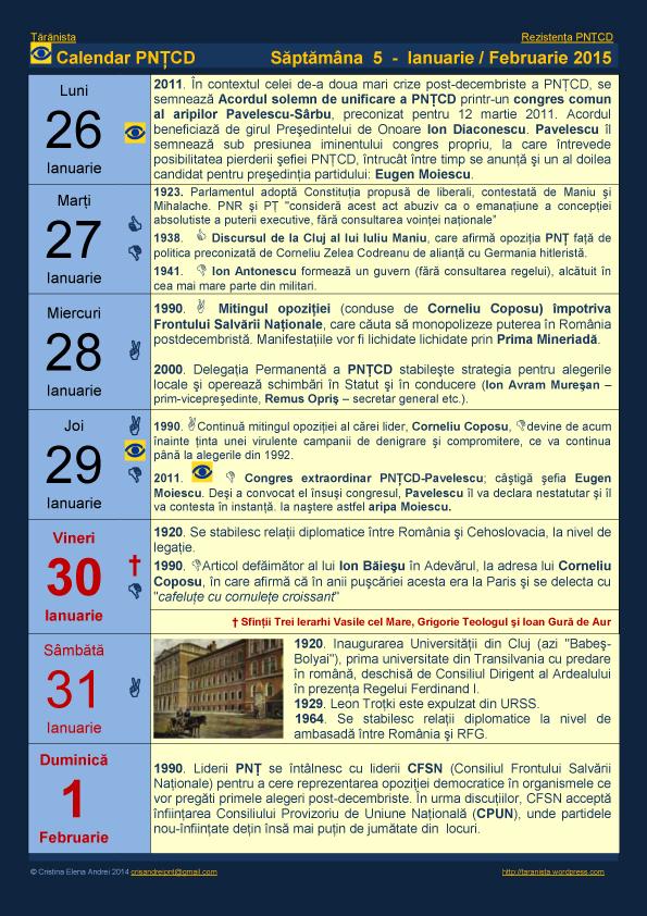 Ţărănista: Calendar Istoric PNŢCD 2015