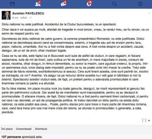 pavelescu reactie doliu national club colectiv