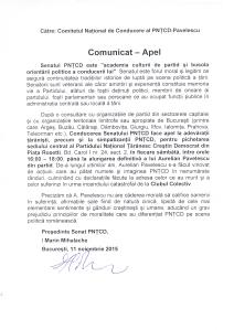 PNTCD Senat Comunicat-Apel declaratie Pavelescu-pichet